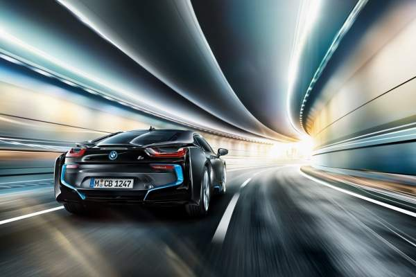 BMW i8 on a road in a tunnel
