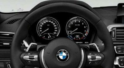 M leather steering wheel.