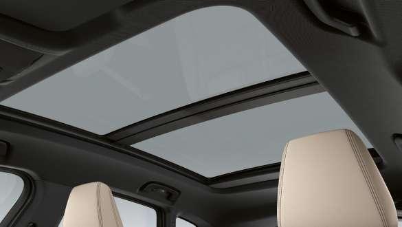 Large panoramic glass sunroof.